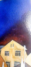 Step 6 -Nur ein dunkler Himmel kann das Bild zum Leuchten bringen - Aquarell - Abends in Kühlungsborn (c) Frank Koebsch