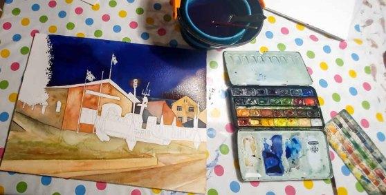 Step 7 - Kontrolle ob der Himmel den richtigen Farbton hat - Aquarell - Abends in Kühlungsborn (c) Frank Koebsch