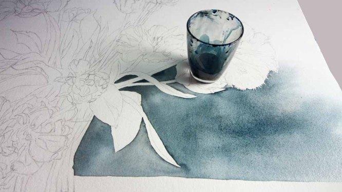 Anlegen des Hntergunds für das Aquarell - Ein wunderschöner Tulpenstrauß (c) Frank Koebsch (3)