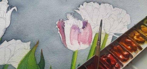 Aus einem Spiel aus Verläufen und Lasuren enstehen die Blüten (c) Frank Koebsch (1)