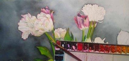 Aus einem Spiel aus Verläufen und Lasuren enstehen die Blüten (c) Frank Koebsch (2)