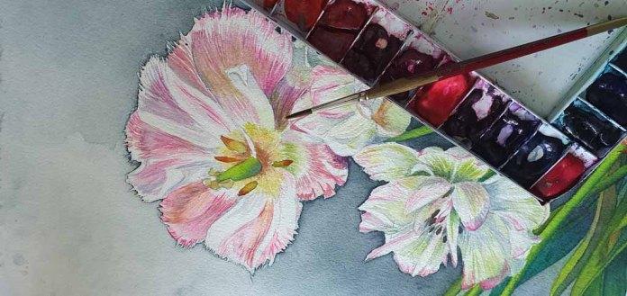 Aus einem Spiel aus Verläufen und Lasuren enstehen die Blüten (c) Frank Koebsch (4)