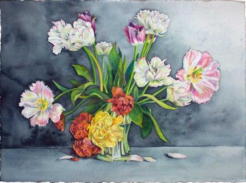 Ein wunderschöner Tulpenstrauß (c) Aquarell von Frank Koebsch