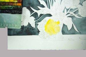 Eine Erste Lasur für die Blüten entsteht (c) Frank Koebsch