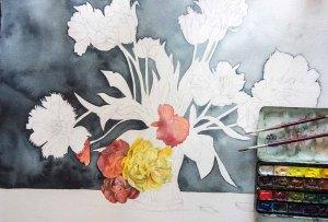 Lasur für Lasur entstehen die Blüten (c) FRank Koebsch (1)
