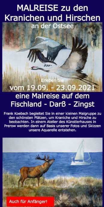 Malreise zu den Kranichen und den Hirschen an der Ostsee vom 19. bis zum 23. September 2021 - Flyer Deckblatt