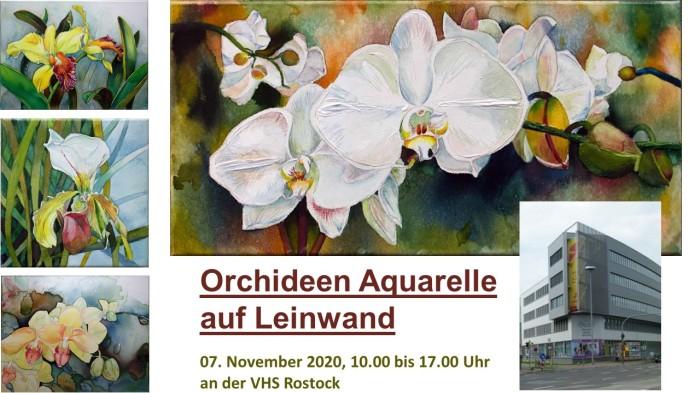 Aquarellkurs . Orchideen auf Leinwand