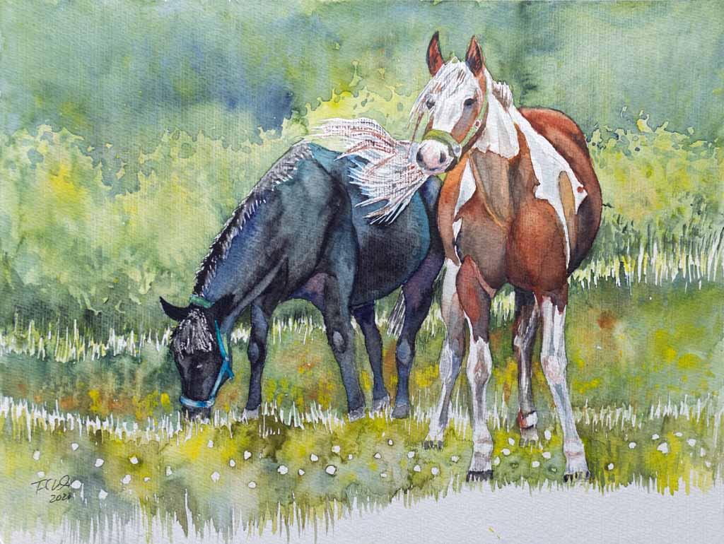 Bunt – ein Paint Horse und ein blaues Pferd © Aquarell von Frank Koebsch