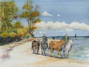 Reiten am Strand von Sellin (c) Aquarell von Frank Koebsch