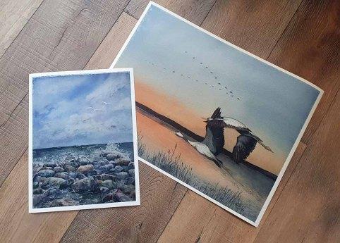 Das Kranich Aquarell - Kraniche auf dem Weg zu den Schlafplätzen - und das Ostsee Aquarell - Geschichtenerzähler - auf Hahnemühle Papier Albrecht Dürer