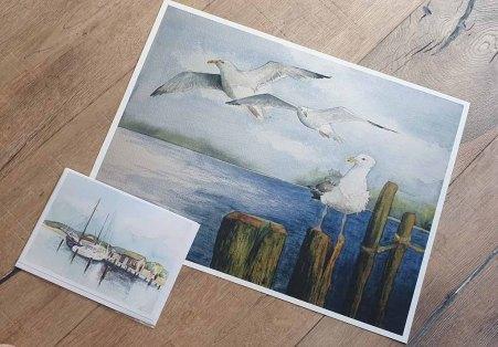 Das Möwen Aquarell - Auf der Suche nach den besten Plätzen - auf HahnemühlePapier Albrecht Dürer im Format 30 x 40 cm