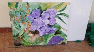 Ergebnisse aus dem Workshop - Orchideen als Aquarell auf Leinwand mit Frank Koebsch bei boesner – Berlin Marienfelde (1)