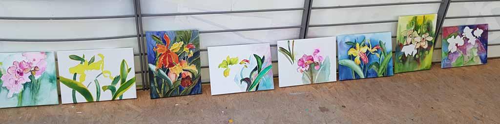 Ergebnisse aus dem Workshop - Orchideen als Aquarell auf Leinwand mit Frank Koebsch bei boesner – Berlin Marienfelde (2)