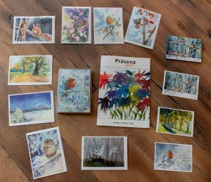 Faltkarten mit Umschlag und Postkaten mit Aquarellen von Hanka & Frank Koebsch im Herbstprogramm 2020 des Präsenz Verlages