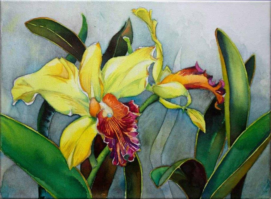 Gegen den Novemberblues - farbige Orchideenblüten (c) Aquarell auf Leinwand von Frank Koebsch