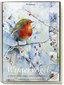 Kunstkarten-Box - Wintervögel - mit Motiven von Hanka Koebsch