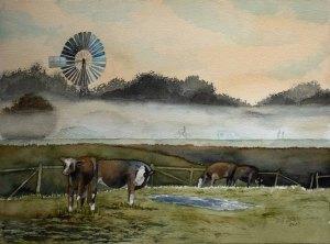 Nebel auf den Wiesen des Mönchguts (c) Aquarell von Frank Koebsch
