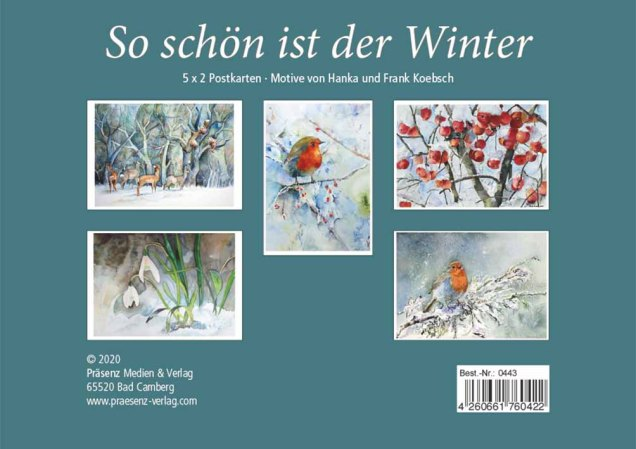 Postkarten-Box - So schön ist der Winter -mit Motiven von unseren Winter Aquarellen Rückseite