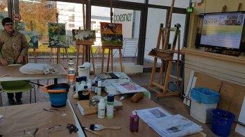 Vorbereitungen für den Workshop - Orchideen als Aquarell auf Leinwand mit Frank Koebsch bei boesner – Berlin Marienfelde (1)