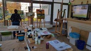 Vorbereitungen für den Workshop - Orchideen als Aquarell auf Leinwand mit Frank Koebsch bei boesner – Berlin Marienfelde (2)