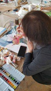 Workshop - Orchideen als Aquarell auf Leinwand mit Frank Koebsch bei boesner – Berlin Marienfelde (4)