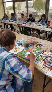Workshop - Orchideen als Aquarell auf Leinwand mit Frank Koebsch bei boesner – Berlin Marienfelde (6)