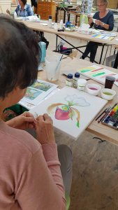 Workshop - Orchideen als Aquarell auf Leinwand mit Frank Koebsch bei boesner – Berlin Marienfelde (7)