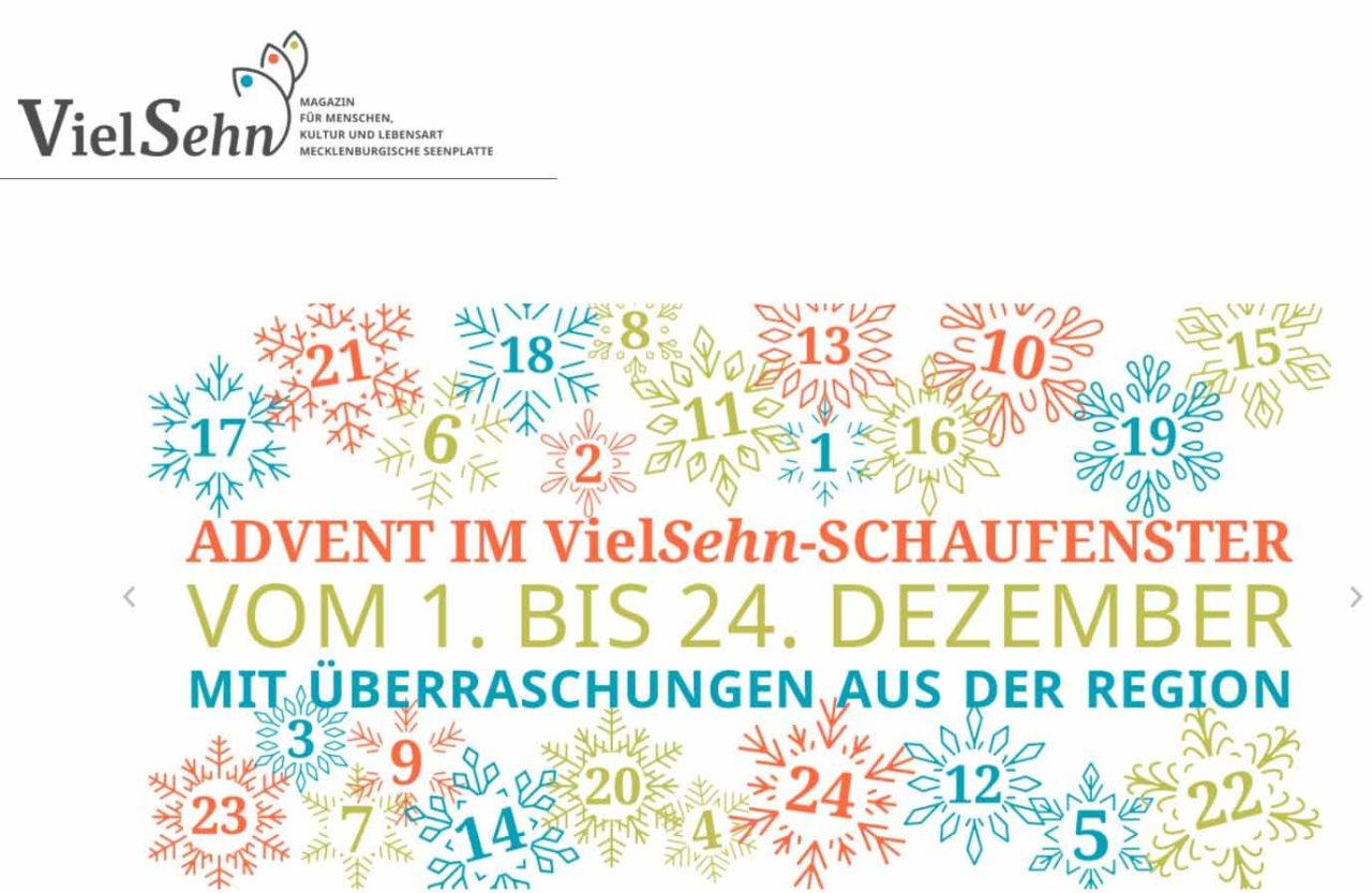 Advent im VIELSehn - Schaufenster vom 01. bis 24. Dezember mit Überraschungen aus der Region
