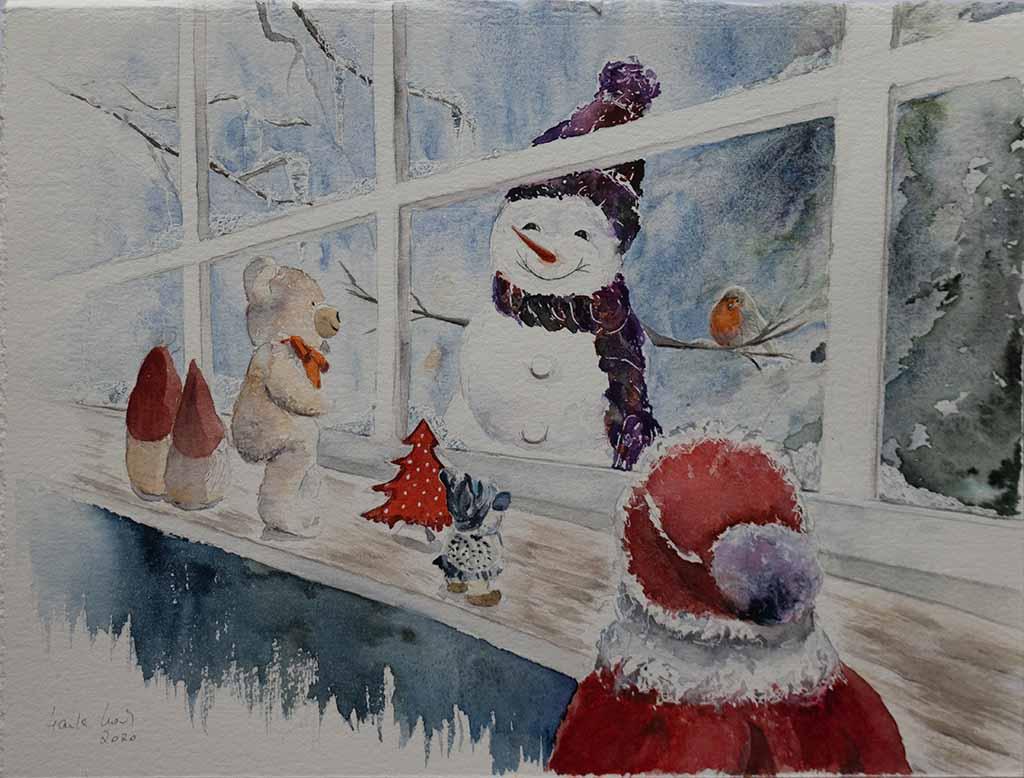 Blick in die Spielzeugwerkstatt (c) ein Schneemann Aquarell von Hanka Koebsch