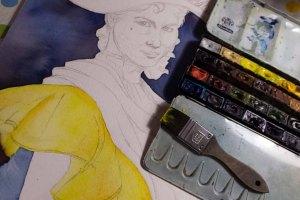 Das Spiel der Komplementärfarben zwischen Kleid und Hintergrund der Eliza Doolittle aus My fair Lady in einem Aquarell © Frank Koebsch