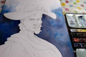 Der farbige Hintergrund macht Eliza Doolittle aus My fair Lady im dem Aquarell sichtbar(c) FRank Koebsch (2)