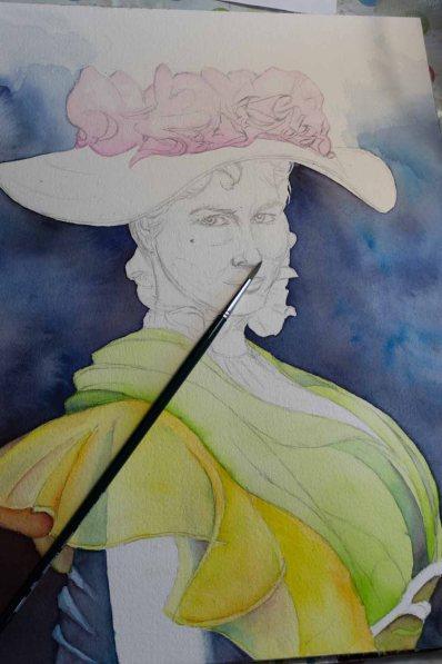 Die ersten Farben im Kleid und auf dem Hut von Eliza Doolittle aus My fair Lady in einem Aquarell © Frank Koebsch