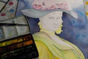 Durch Lasuren werden das Kleid und der Hut von Eliza Doolittle aus My fair Lady gestaltet © Frank Koebsch (1)