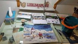Hanka malt ein Schneemann Aquarell (c) Frank Koebsch