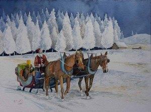 Schlittenfahrt (c) ein Weihnachtsmann Aquarell von Frank Koebsch
