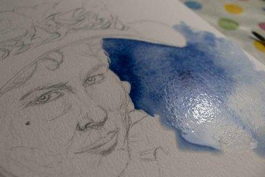 Spannend der erste Farbauftrag in dem Aquarell von Eliza Doolittle aus My fair Lady (c) FRank Koebsch (1)