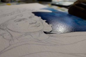 Spannend der erste Farbauftrag in dem Aquarell von Eliza Doolittle aus My fair Lady (c) FRank Koebsch (2)