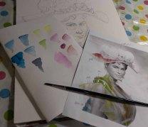 Überlegungen für die farbliche Gestaltung des Aquarells von Eliza Doolittle aus My fair Lady (c) FRank Koebsch