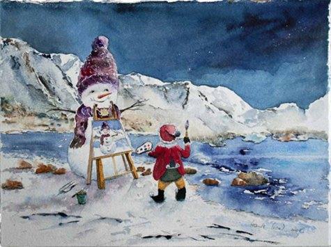 Winterwunderlland (c) ein Schneemann Aquarell von Hanka Koebsch