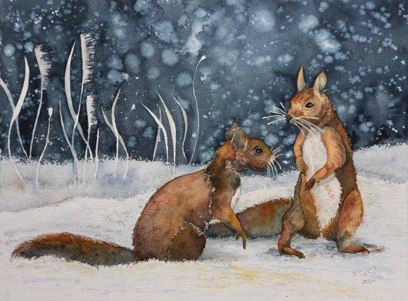 Eichhörnchen im Schnee © Aquarell von Frank Koebsch