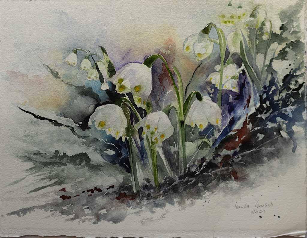 Farben kommen zurück © ein Aquarell mit Märzenbechern von Hanka Koebsch