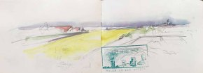 Skribbel - Rapsfeld beim Leuchtturm von Bastorf von Sonja Jannichsen
