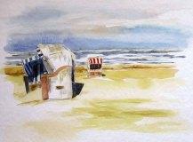 Strandkorbunterhaltung (c) Aquarell von Sonja Jannichsen