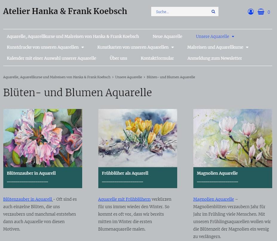Blumen Aquarelle in neuen Look and Feel unsere Web Seite atelier-koebsch.de auf einem Laptop