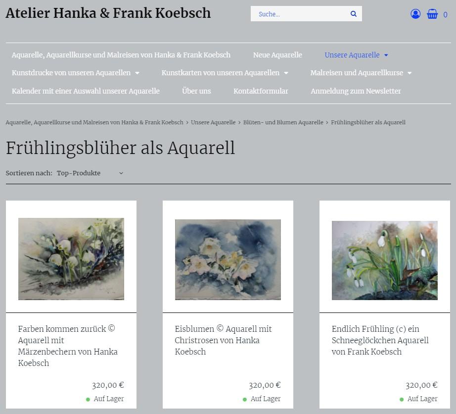 Frühlingsblüher in neuen Look and Feel unsere Web Seite atelier-koebsch.de auf einem Laptop