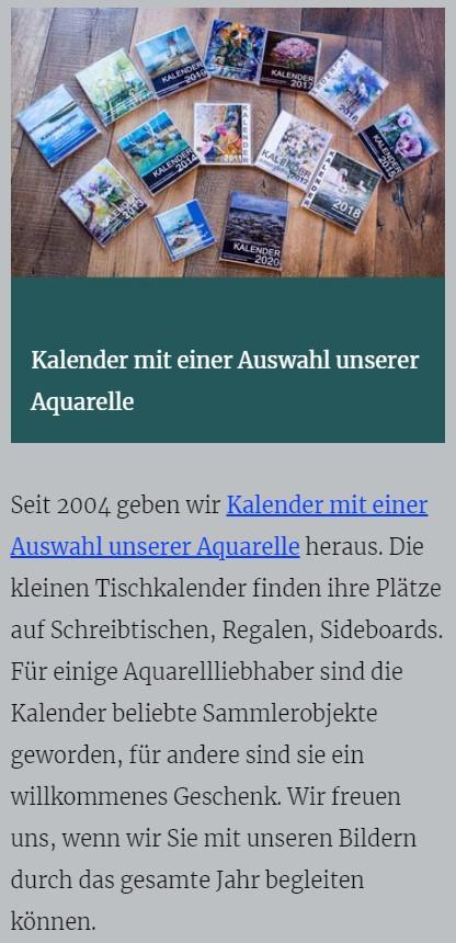 Kalender mit einer Auswahl unserer Aquarelle - atelier-koebsch.de