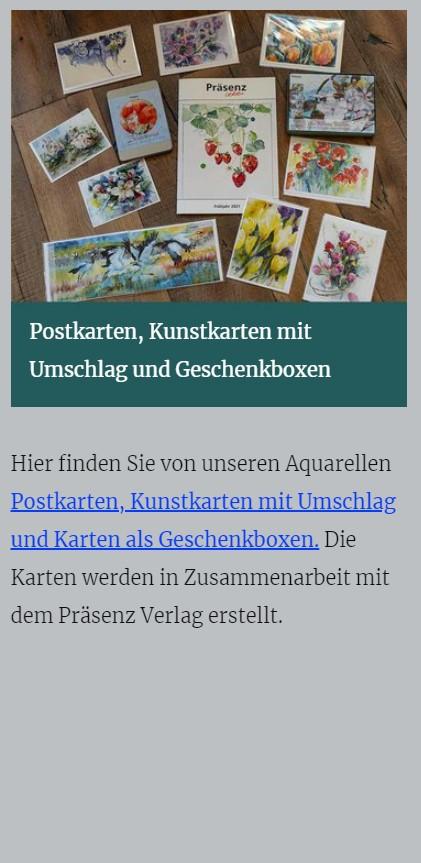 Postkarten, Kunstkarten mit Umschlag und Geschenkboxen - atelier-koebsch.de