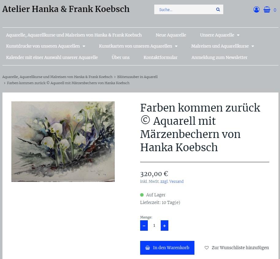 Produktansicht mit einem neuen Look and Feel unsere Web Seite atelier-koebsch.de auf einem Laptop (2)