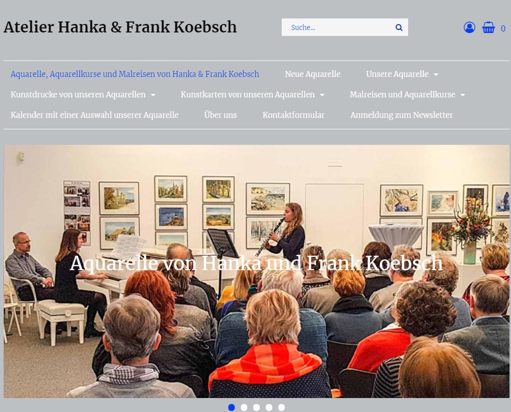 Startseite mit einem neuen Look and Feel unsere Web Seite atelier-koebsch.de auf einem Laptop (1)