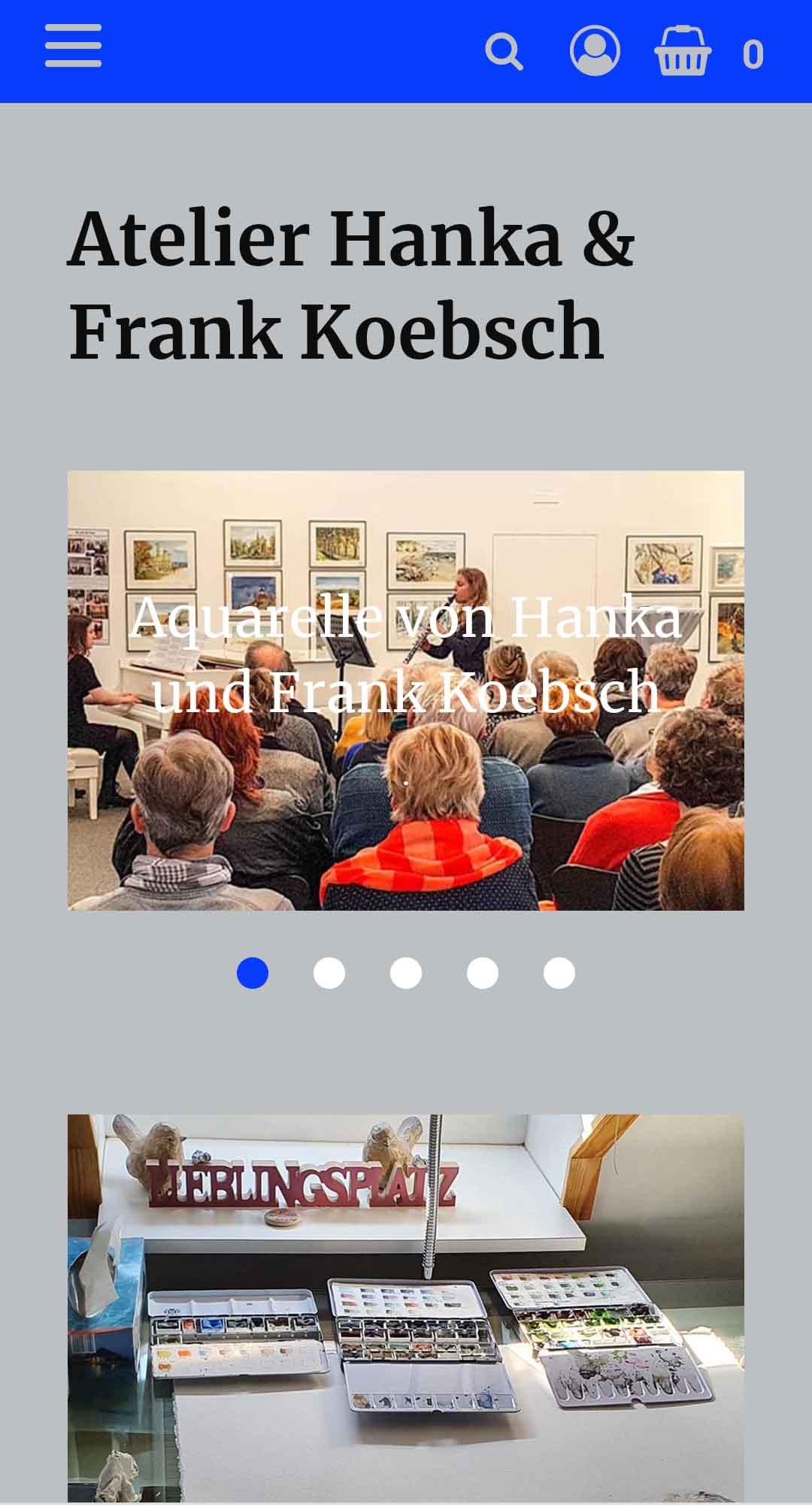 Startseite mit einem neuen Look and Feel unsere Web Seite atelier-koebsch.de auf einem Smartphone
